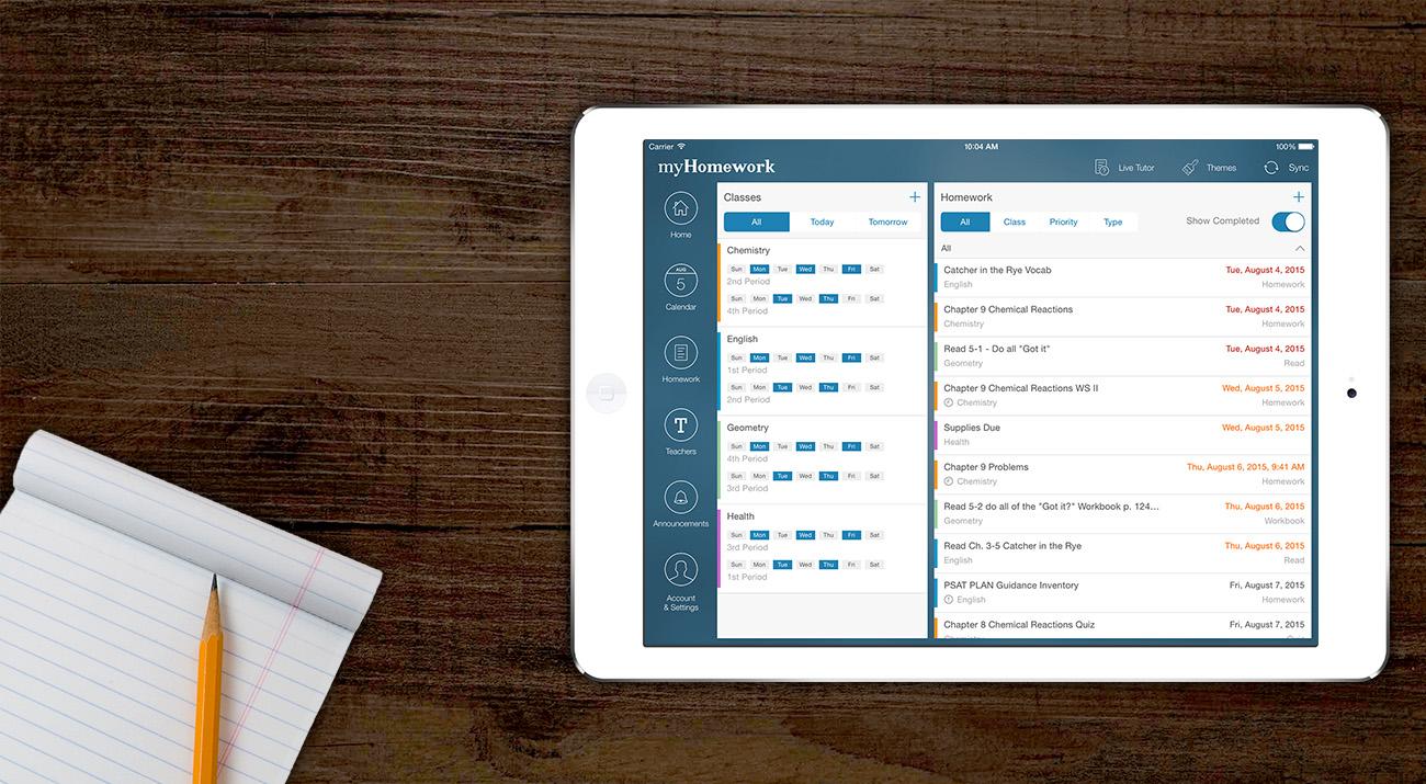 rozhranie aplikacie myHomework