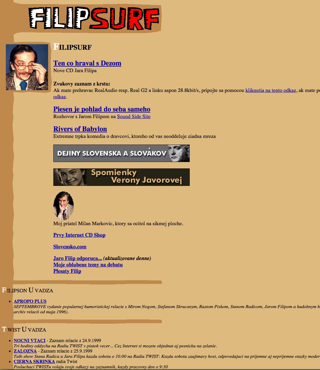 Filipov osobný profil z doby ked soviálne siete ešte neboli.