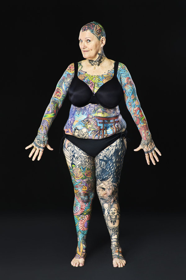 Charlotte Guttenberg - Most tattooed senior citizen (female) Guinness World Records 2016 Photo Credit: Al Diaz/Guinness World Records