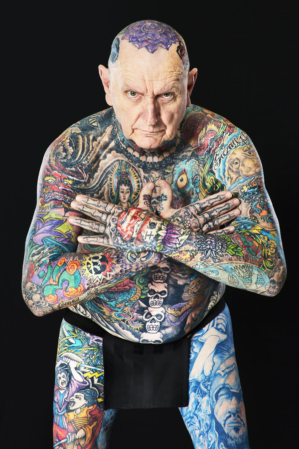 Chuck Helmke - Most tattooed senior citizen (male) Guinness World Records 2016 Photo Credit:Al Diaz/Guinness World Records